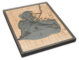 Lake St Clair Wood Carved Topographic Depth Chart Map