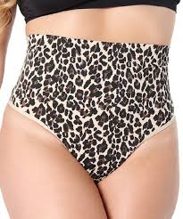 Slimme By Memoi Nude Black Leopard High Waist Shaper Thong Women