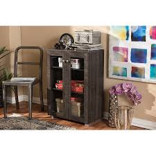 6496 rcw dark brown storage cabinet with glass doors mason