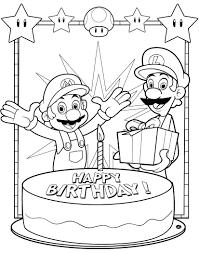 Super Mario Bros Happy Birthday Coloring Pages Free Birthday
