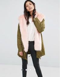 little mistress hooded parka with pink contrast faux fur lining coat