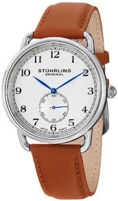 stuhrling original men s 207 01 classic cuvette decor swiss quartz stuhrling original men s 207 01 classic cuvette decor swiss quartz brown leather strap watch