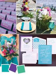 Purple and green wedding colors Color Palette Beach Wedding Color Scheme With Teal Purple And Green The Knot Beach Wedding Color Palettes We Love