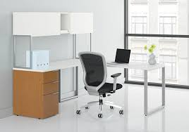 hon voi contemporary l shaped desk with overhead hutch