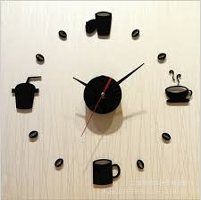 Small Picture Diy Clock Silent 3D Coffee Cups Design Decorative Wall Clock
