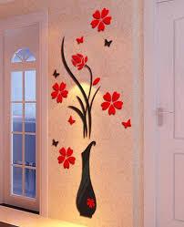 diy vase flower tree crystal arcylic 3d wall stickers