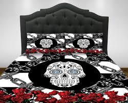 skull bedding sugar skull duvet cover or comforter set zoom