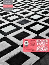 rectangles cowhide rug black white geometric pattern