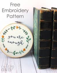 Free Hand Embroidery Patterns Custom You Are Enough Free Hand Embroidery Pattern The Polka Dot Chair