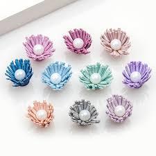 2cm velvet fabric daisy flowers high quality diy mini flower with pearls bouquet newborn hair accessories