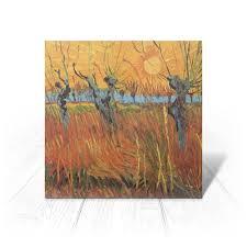 <b>Открытка 15x15 см</b> Обрезанные ивы и закат (Винсент Ван Гог ...