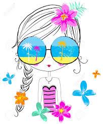 夏のかわいい女の子 T シャツ グラフィック子供のイラストファッション