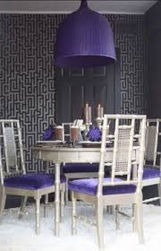 bamboo chairs purple silver gray interior design dining room