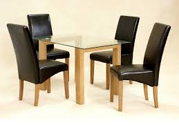 ... Glass Dining Table And 4 Chairs Clear Small Set Oak Wood Finish Jpg For  Person Spacesmall ...