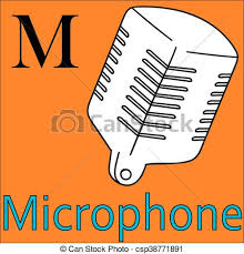 m letter vector alphabet coloring microphone