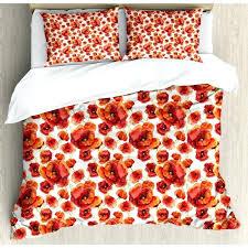 red poppy duvet covers cover quilt fl flowers set bedrooms glamorous agreeable