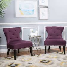 Small Picture Accent Chairs For Living Room Set of 2 Unique Purple Studded