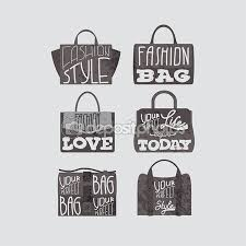 Fashion bags set with fashion quotes on them — Stock Vector ...