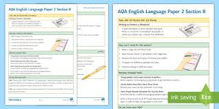 How To Revise A Paper Aqa English Language Paper 2 Section B Support Guide Aqa