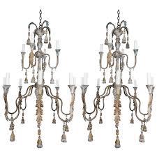 pair of italian wood beaded painted chandeliers 4 800 per item