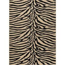 elg5162 8x10 8 x 10 large beige and black zebra print area rug elegance