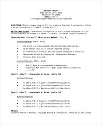 Restaurant Manager Resume 16 Business Plan