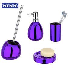 Wenko 4tlgbadset Polaris Purple Badezimmer Set Wc Garnitur