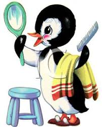 mirror clipart. a penguin grooming himself in the mirror clipart picture o