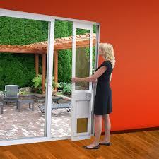 modern patio door with dog door