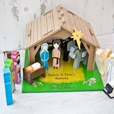 personalised nativity set wooden toy