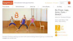 screen shot of what a barre3 workout looks like