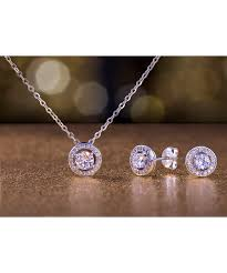 all gone cubic zirconia sterling silver round stud earrings necklace set