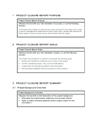 Closure Report Template Project Executive Summary Post