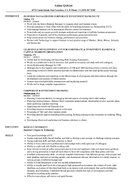 sample resume for investment banking corporate investment banking resume samples velvet jobs