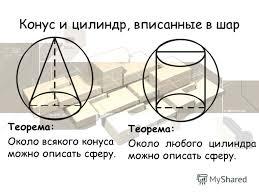 Презентация на тему Реферат на тему Вписанные и описанные  9 Конус и цилиндр вписанные в шар Теорема Около всякого конуса можно описать сферу Теорема Около любого цилиндра можно описать сферу