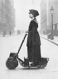 Lady Florence Norman, a suffragette, on her motor-<b>scooter</b> in <b>1916</b>
