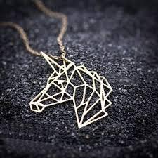 geometric unicorn necklace gold unicorn head pendant necklace girl magic jewelry party accessories drop ylq0869
