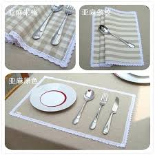 brown placemats lace fashion washable linen cloth table mat plaids stripes insulation pad creative home leather brown placemats