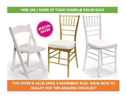 Special offer r20 00 gold or white tiffany chairs or white wimbledon