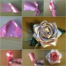 Paper Ribbon Flower How To Diy Pretty Satin Ribbon Rose Tutorial Fab Art Diy Tutorials