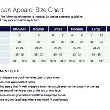This Is The Size Chart For American Apparel Make Depop