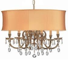 crystorama bwood 6 light gold drum shade brass chandelier swarovski spectra