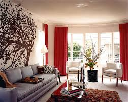 Decoration ~ Terrific Contemporary Red Wall Room Ideas With White ... Red  Living RoomsRed Curtains ...