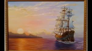 oil painting ship by tastanbek baurzhan