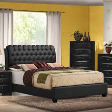 acme ireland queen bed in black faux leather on tufted headboard