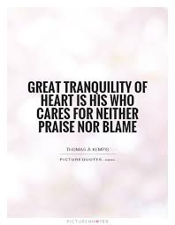 Tranquility Quotes Magnificent Great Tranquility Of Heart Is His Who Cares For Neither Praise