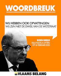 Vlaams Belang - Volgens Koen Geens is de CD&V niet de dweil van de Wetstraat.  Maar hoe moeten we dit kiezersbedrog dan omschrijven? Kies toch eens  eindelijk voor de eigen principes in