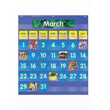 Amazon Com Scbtf 5101 3 Monthly Calendar Pocket Chart