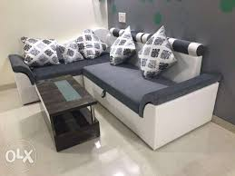 very beautiful l shape sofa bed with pillows storage inside