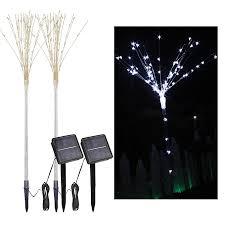 2 pack solar fireworks tree lights with light sensor 100 leds diy shape white garden